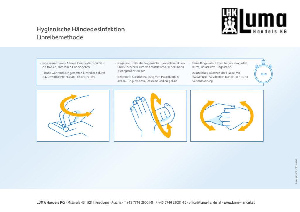Hände mit etwa 3ml Lösung einreiben und 30 Sekunden feucht halten. Während der Einwirkzeit mit Händen nichts berühren, um eine uneingeschränkte Desinfektionswirkung zu gewährleisten. Durch die Anwendung kann es vermehrt zu trockener und rissiger Haut kommen, daher ist die Hautpflege anzupassen.