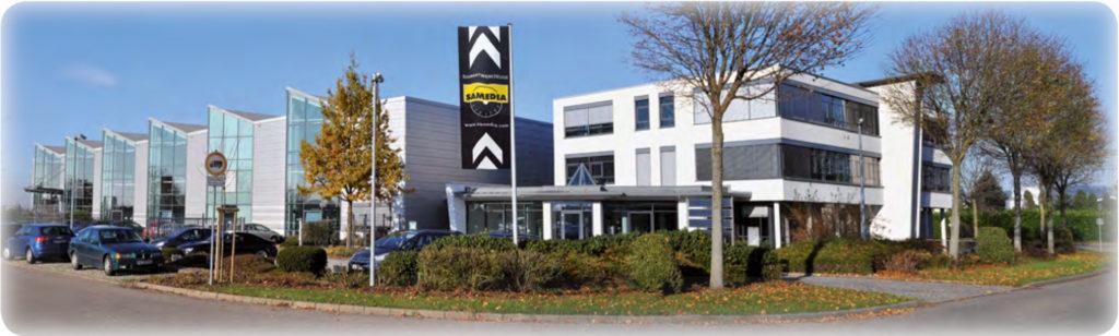 Samedia Fertigungsgebäude in Deutschland. Hier werden die Premium Diamantsegmente mit der SHOXX Technologie gefertigt.