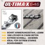 Betonbohrer Diager SDS-Max Ultimax646 von LUMA Handels KG der erste Bohrer mit 100% Vollhartmetall Bohrkopf und 10 Schneiden - Schnell, Sauber, Sicher - auch in Stahlbeton. Ideal Passend für alle herkömmlichen Bohrhämmern von Bosch, Hilti, Metabo, Makita, Milwaukee, Dewalt, Spit, Duss.