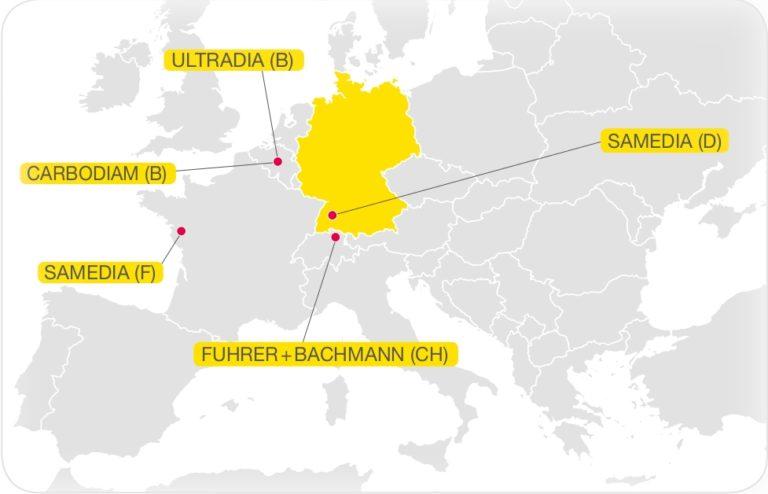 Samedia produziert an 5 Standorten in Europa - Werkzeuge, Maschinen und Segmente.