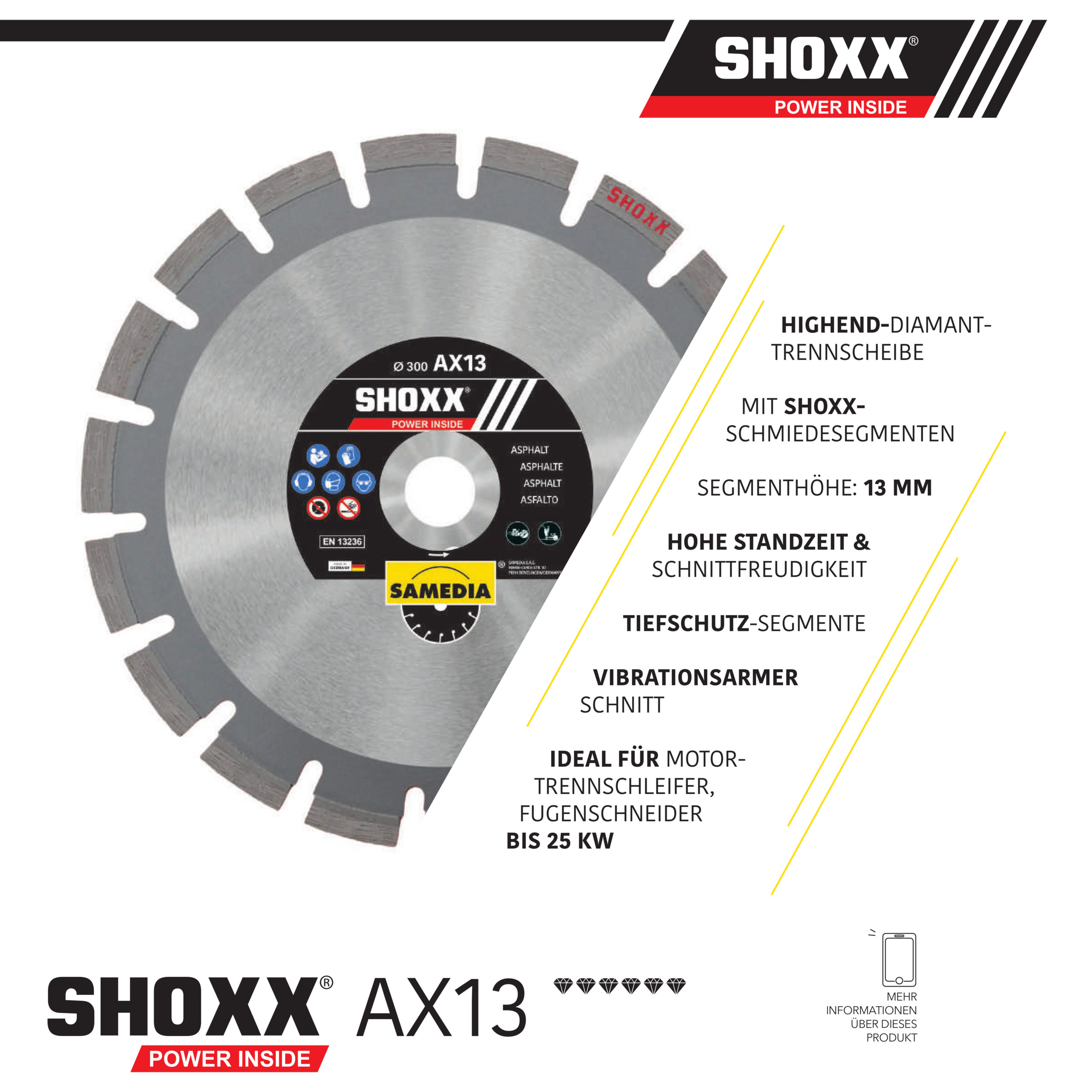Samedia Diamanttrennscheibe SHOXX AX13 ideal für Fugenschneider bis 25KW und Motortrennschleifer für Nass- und Trockenschnitt!