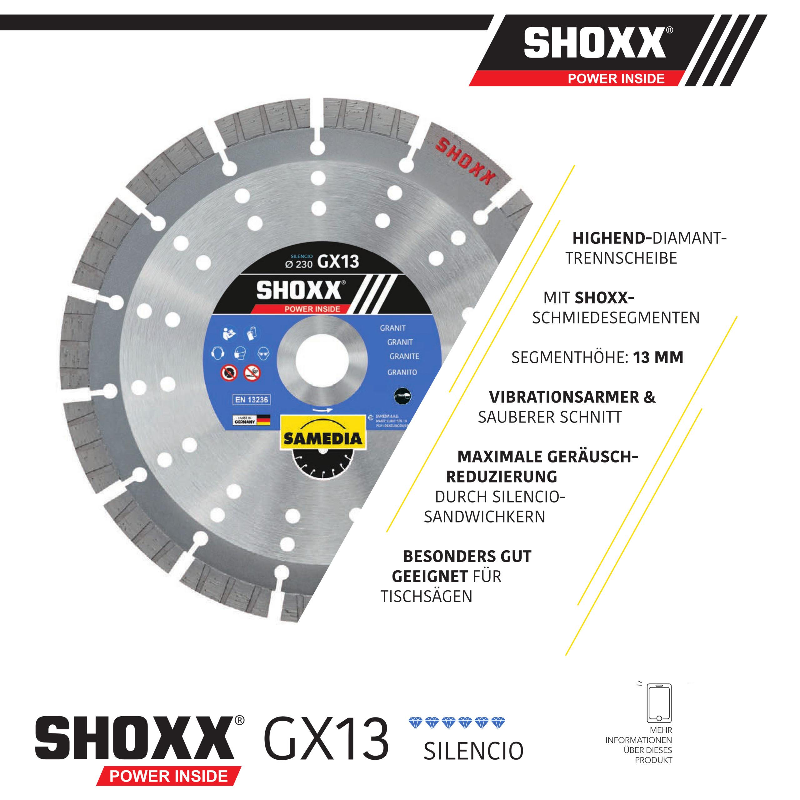 Samedia Diamanttrennscheibe SHOXX GX13 ideal für Granit und Betonerzeugnisse für Nass- und Trockenschnitt!