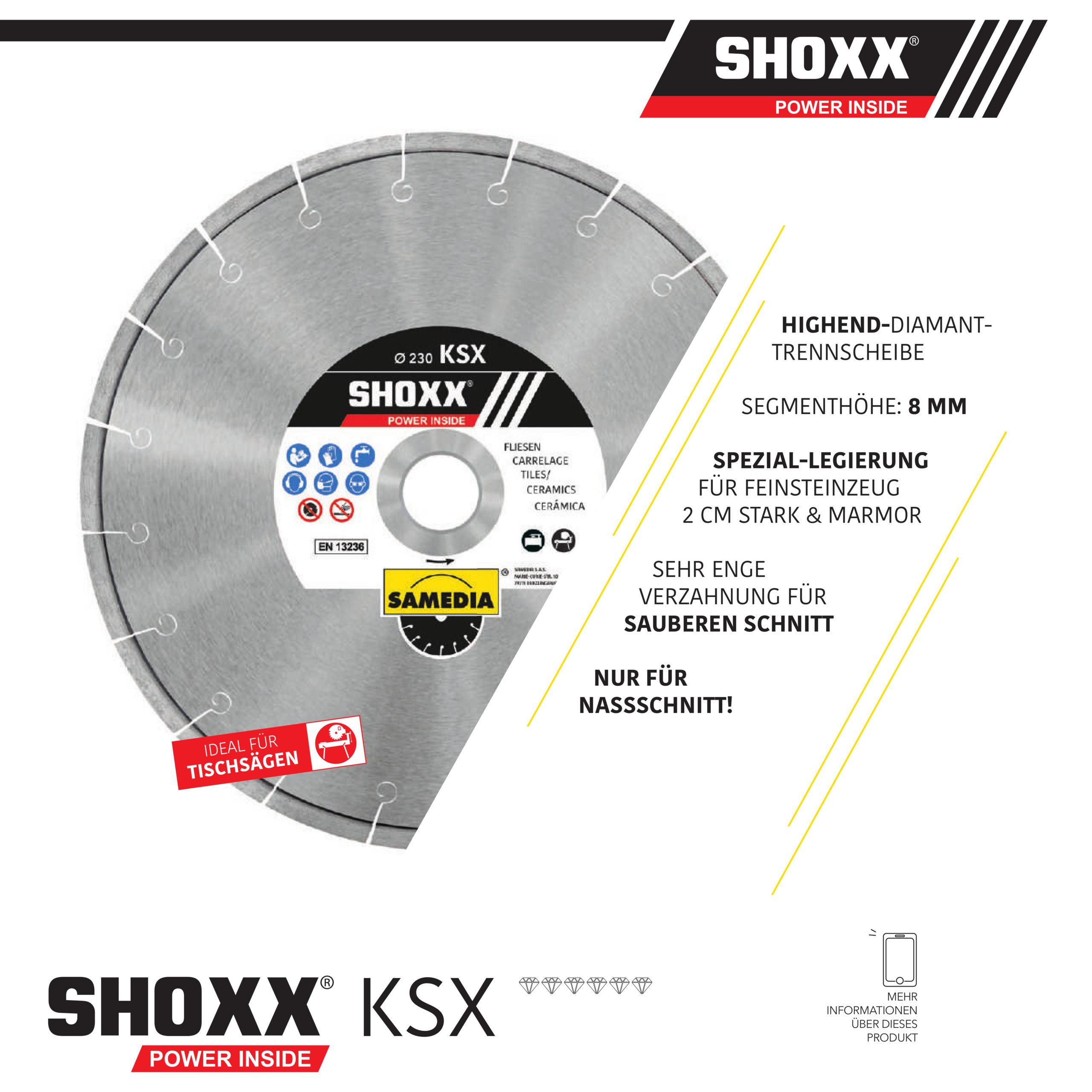 Samedia Diamanttrennscheibe SHOXX KSX für Feinsteinzeug 2cm und Marmor nur Nassschnitt!