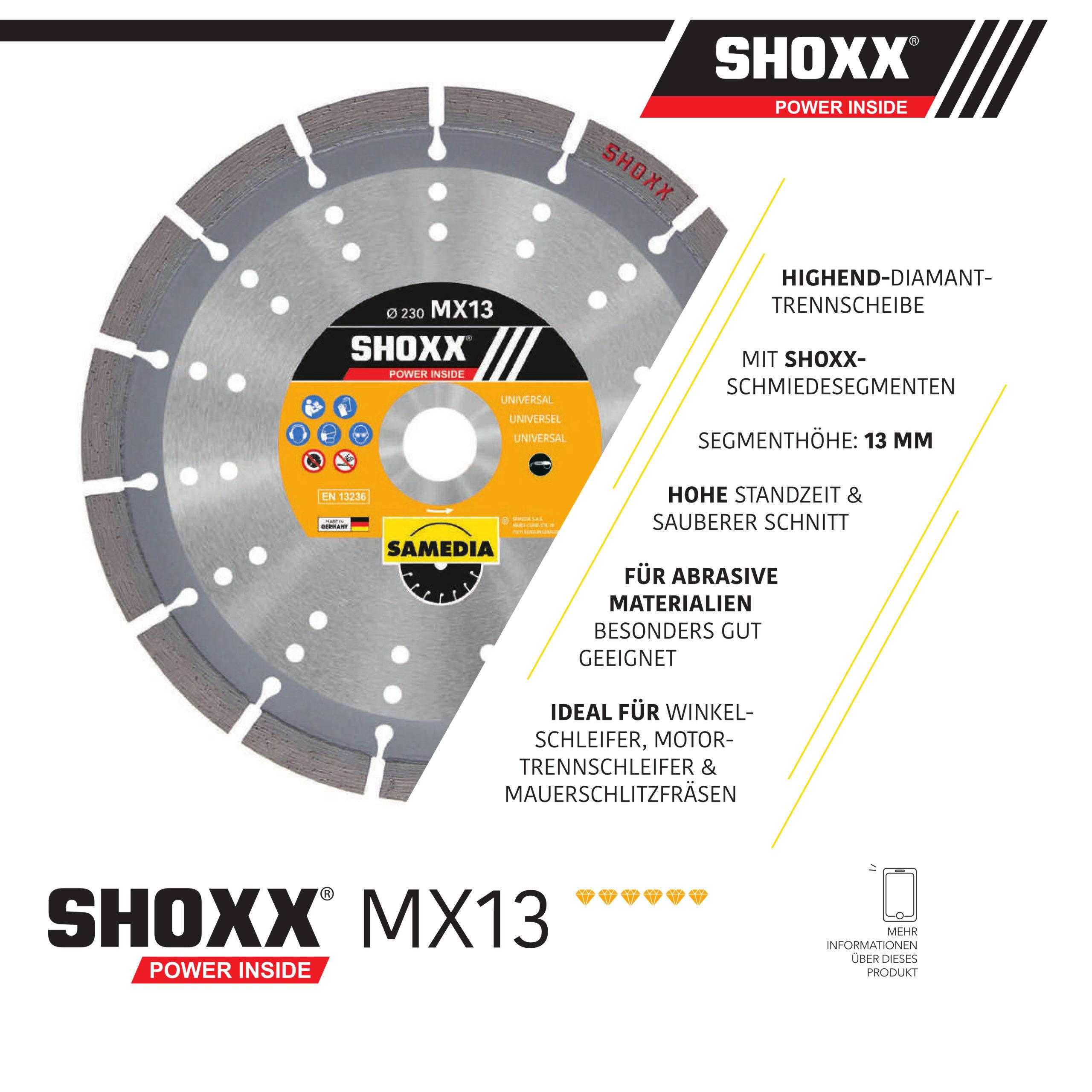 Samedia Diamanttrennscheibe SHOXX MX13 die universelle Scheibe für alle handgeführten Maschinen am Bau - Nass- und Trockenschnitt!
