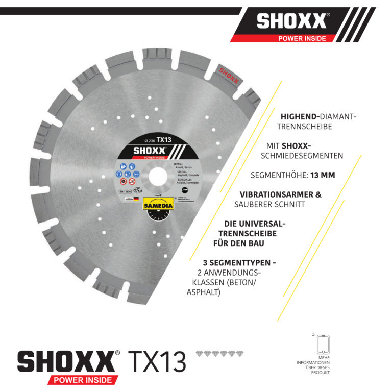 Samedia Diamanttrennscheibe SHOXX TX13 die universelle Scheibe für den Straßenbau mit 3 Segmenttypen für Beton und Asphalt - Nass- und Trockenschnitt!