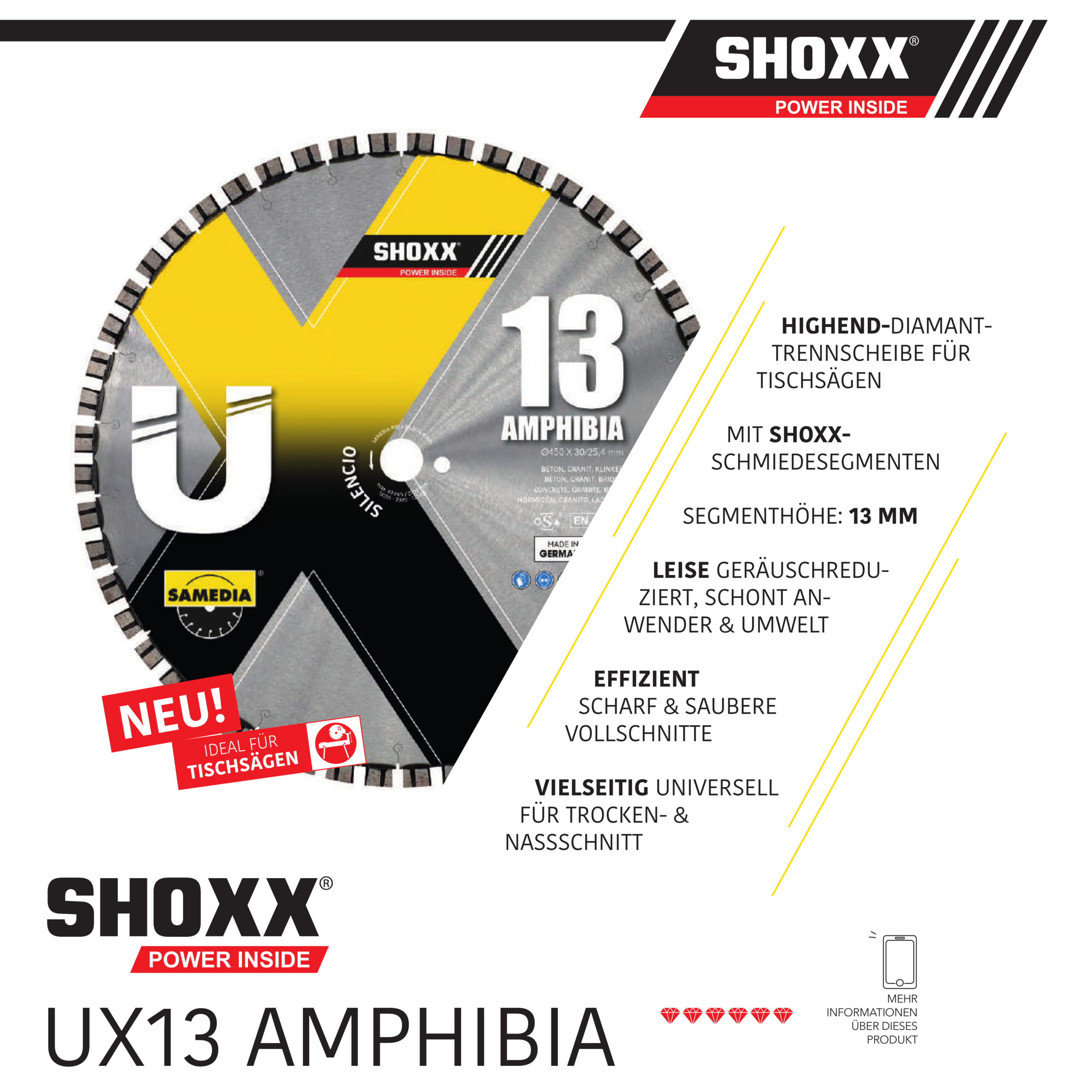 SAMEDIA Diamanttrennscheibe für Tischsägen UX13 Amphibia für Betonerzeugnisse - Nass- und Trockenschnitt!